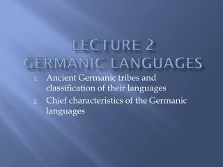 Lecture 2 Germanic languages