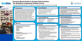 Teaching Mental Health to Hospital Administration:   The  Managing Challenging Families  Course