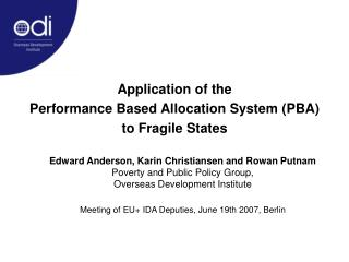 Application of the  Performance Based Allocation System (PBA)  to Fragile States