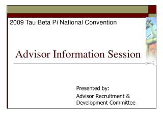 Advisor Information Session