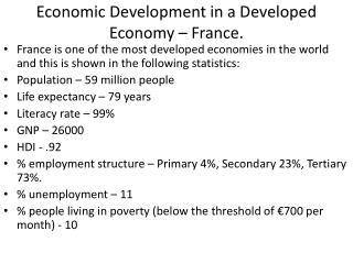 Economic Development in a Developed Economy – France.