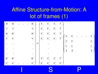 Affine Structure-from-Motion: A lot of frames (1)
