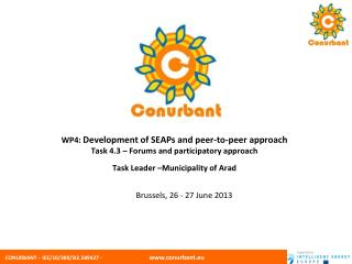 WP4:  Development of SEAPs and peer-to-peer approach Task 4.3 – Forums and participatory approach Task Leader –Municipa