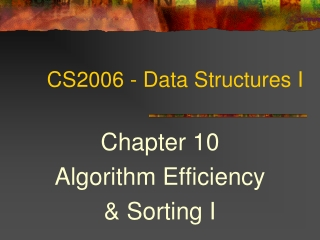 Comparing Algorithms  and  ADT Data Structures
