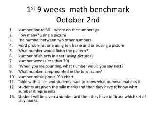 1 st  9 weeks  math benchmark October 2nd
