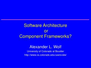 Software Architecture  or Component Frameworks?