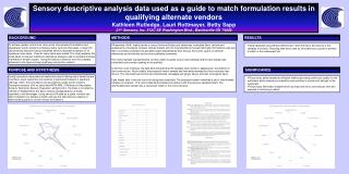 Sensory descriptive analysis data used as a guide to match formulation results in qualifying alternate vendors Kathleen