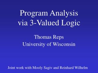 Program Analysis via 3-Valued Logic
