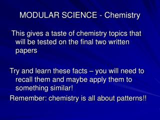 MODULAR SCIENCE - Chemistry
