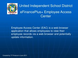 United Independent School District eFinancePlus+ Employee Access Center