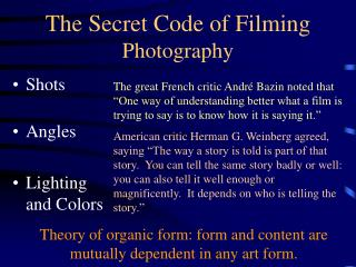 The Secret Code of Filming Photography