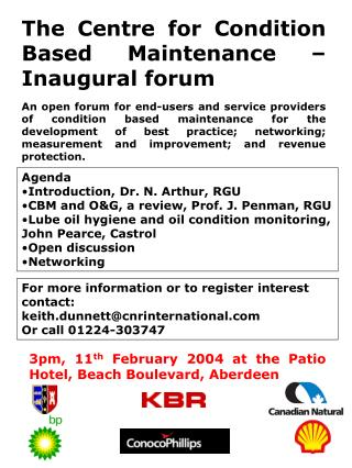 The Centre for Condition Based Maintenance – Inaugural forum