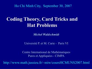 Coding Theory, Card Tricks and Hat Problems