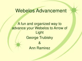 Webelos Advancement