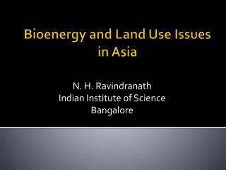 Bioenergy and Land Use Issues in Asia