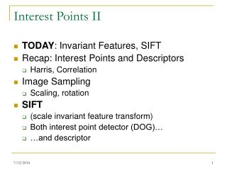 Interest Points II