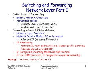 Switching and Forwarding Network Layer Part I
