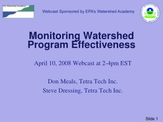 Monitoring Watershed Program Effectiveness