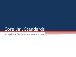 Core Jail Standards