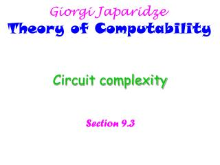 Circuit complexity