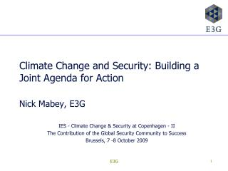 Climate Change and Security: Building a Joint Agenda for Action