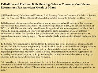 Palladium and Platinum Both Showing Gains as Consumer Confid