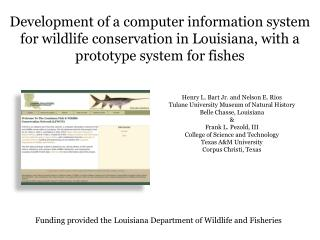 Development of a computer information system for wildlife conservation in Louisiana, with a prototype system for fishes