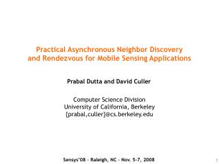 Practical Asynchronous Neighbor Discovery and Rendezvous for Mobile Sensing Applications