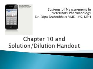 Chapter 10  and Solution/Dilution  Handout
