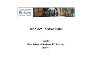 MBA 299 – Section Notes