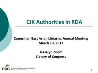 CJK Authorities in RDA