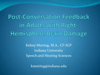 Post-Conversation Feedback in Adults with Right-Hemisphere Brain Damage
