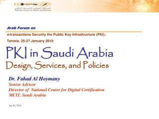PKI in Saudi Arabia Design, Services, and Policies