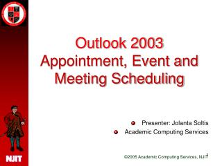 Outlook 2003  Appointment, Event and Meeting Scheduling