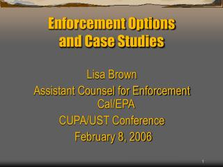 Enforcement Options  and Case Studies