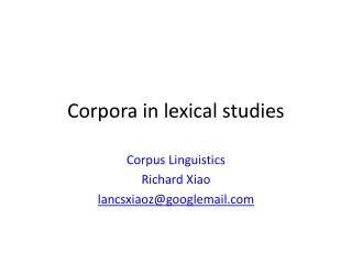Corpora in lexical studies