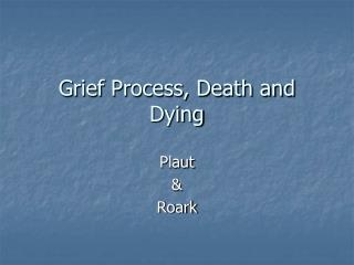 Grief Process, Death and Dying