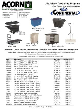 2013  Easy Drop-Ship  Program Free Freight & No Minimum Order