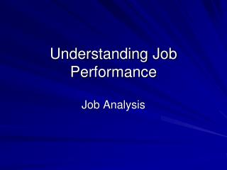 Understanding Job Performance