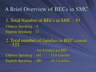 A Brief Overview of BECs in SMC