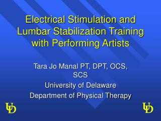 Electrical Stimulation and Lumbar Stabilization Training with Performing Artists