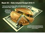 Maple SD   State Adopted Budget 2010-11