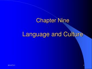 Chapter Nine    Language and Culture