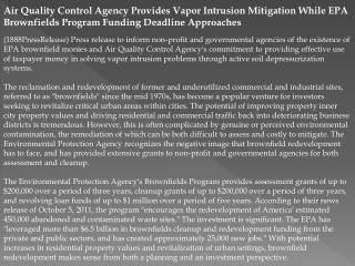 Air Quality Control Agency Provides Vapor Intrusion