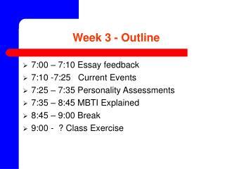 Week 3 - Outline