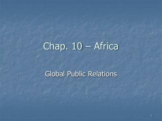 Chap. 10 – Africa