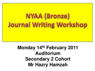NYAA (Bronze) Journal Writing Workshop