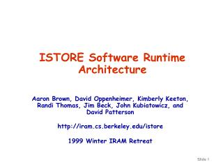 ISTORE Software Runtime Architecture