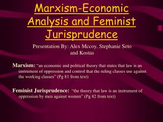Marxism-Economic Analysis and Feminist Jurisprudence