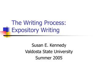 The Writing Process: Expository Writing